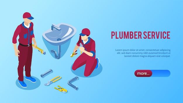 Servicio de fontanero profesional en línea banner isométrico horizontal con dos reparadores que fijan la ilustración de vector de lavabo del baño