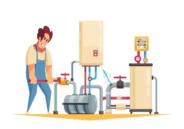 Servicio de fontanero de reparación de calderas composición de dibujos animados plana con fijación de tuberías reventadas que cierra la válvula de agua