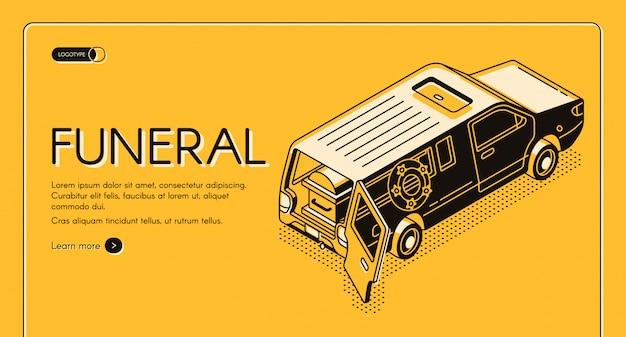 Servicio de funeral isométrico web banner, plantilla de landing page.
