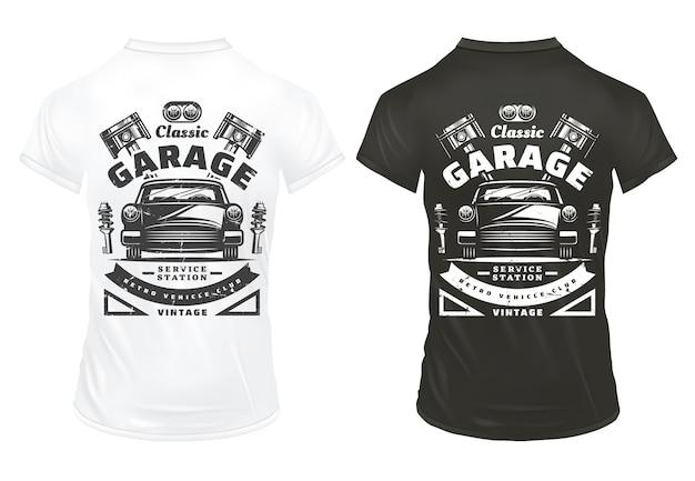 El servicio de garaje de coches clásicos antiguos imprime con inscripciones, faros de automóviles retro, pistones del motor, amortiguadores en camisas aisladas