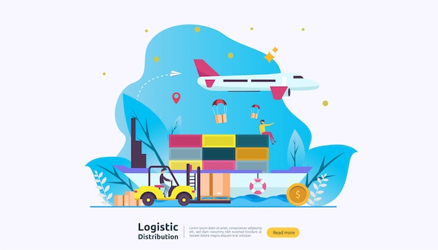 Servicio global de distribución logística y envío a todo el mundo banner de envío con carácter de personas