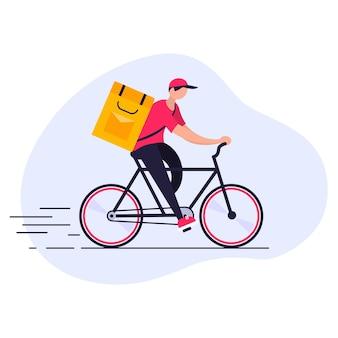 Servicio gratuito de entrega rápida en bicicleta. el mensajero entrega el pedido de comida.