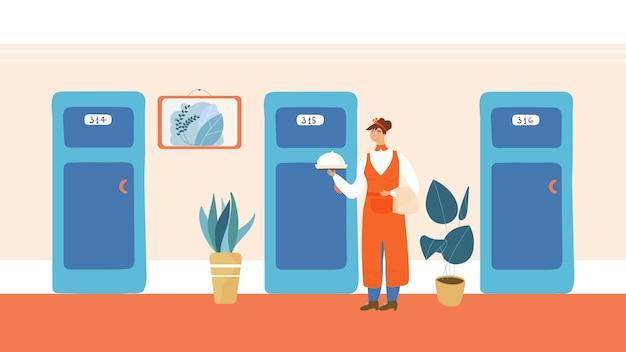 Servicio de habitaciones de hotel, catering mujer sosteniendo plato cubierto, ilustración vectorial