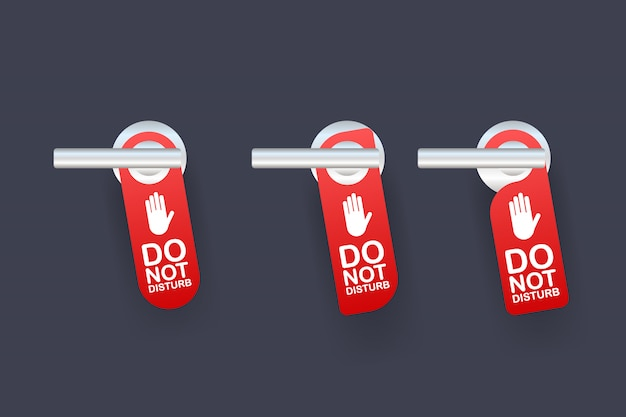 Servicio de habitaciones para el mensaje de advertencia del hotel. no moleste el letrero y el diseño de la manija de la puerta. ilustración.
