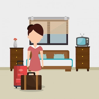 Servicio de habitaciones mujer trabajando en el hotel
