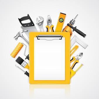 Servicio de herramientas de construcción portapapeles con suministros de herramientas.