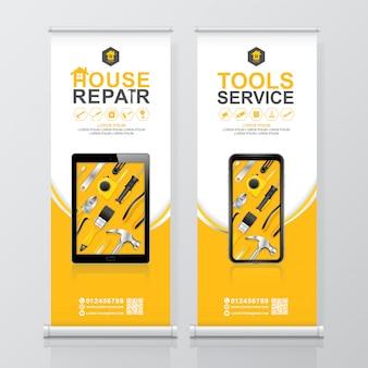 Servicio de herramientas de construcción roll up design, banner standee template