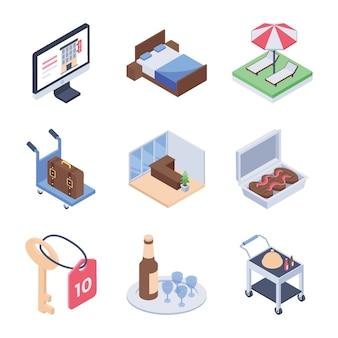 Servicio de hotel y servicio de habitaciones. paquete de iconos isométricos.