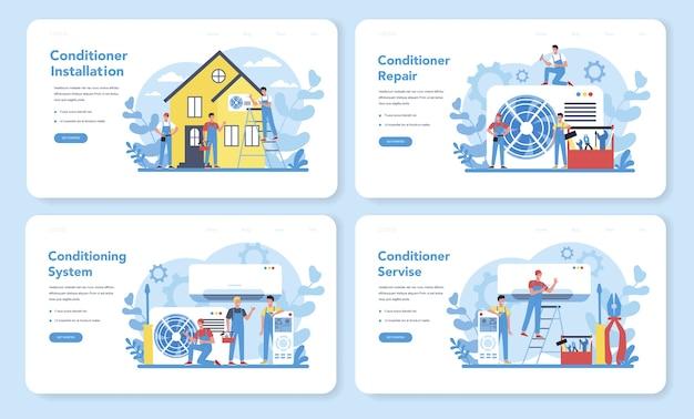 Servicio de instalación y reparación de aire acondicionado banner web o conjunto de página de destino. reparador instalando, examinando y reparando acondicionador con herramientas y equipos especiales.