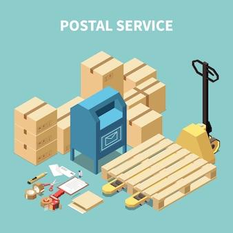 Servicio isométrico de composición postal con cajas de cartón y objetos de papelería.