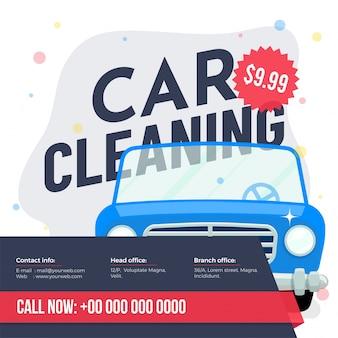 Servicio de lavado de autos banner, póster, folleto o diseño de tarjetas de tarifas para su negocio.