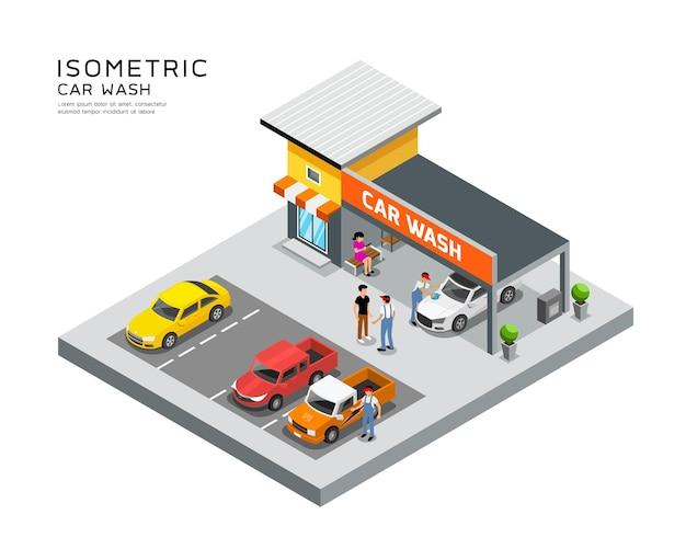 Servicio de lavado de autos de edificio isométrico.