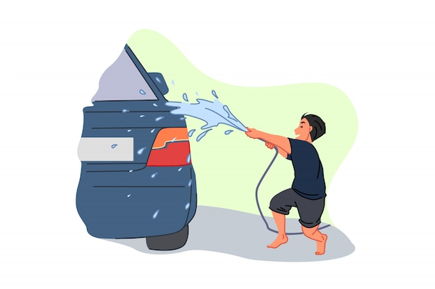 Servicio de lavado de autos, ganar dinero de bolsillo, ayudante para padres, concepto de trabajo infantil