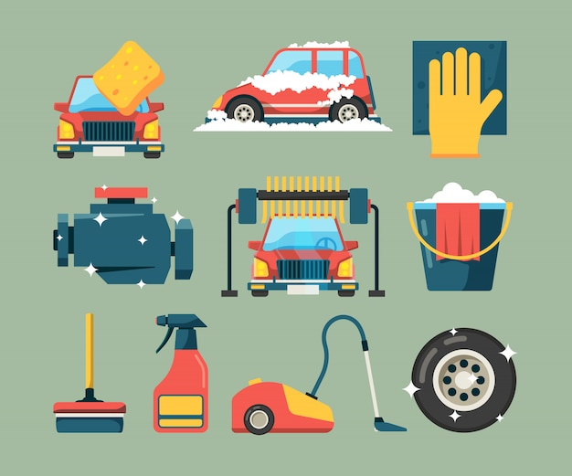 Servicio de lavado de autos. máquinas sucias en edificio limpio cubo de agua limpiando iconos de esponja cartoon