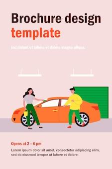 Servicio de lavado de autos. mujer frotando el vehículo con un paño en el garaje, ilustración plana del conductor masculino. transporte, mantenimiento, concepto de limpieza.