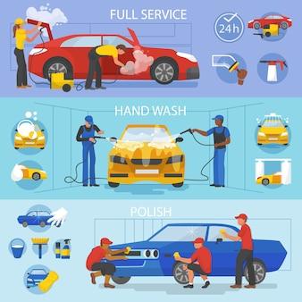 Servicio de lavado de autos de vector de lavado de autos con personas que limpian el conjunto de ilustración de automóviles o vehículos de lavado de autos y lavadoras o limpiadores de personajes pulido de automóviles aislado en blanco