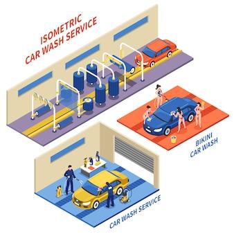Servicio de lavado de coches composiciones isométricas