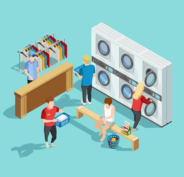 Servicio de lavandería de autoservicio cartel isométrico