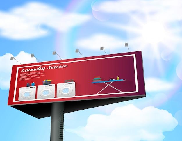 Servicio de lavandería cartelera diseño de banner.