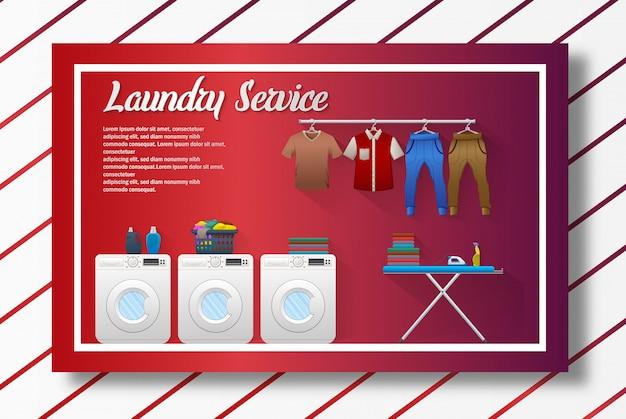 Servicio de lavandería diseño de banner.
