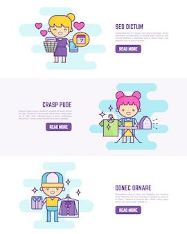 Servicio de lavandería lindo esquema de personaje de dibujos animados banner