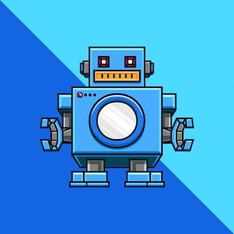 Servicio de lavandería, máquina, lavado, plantilla de logotipo de empresa robot.