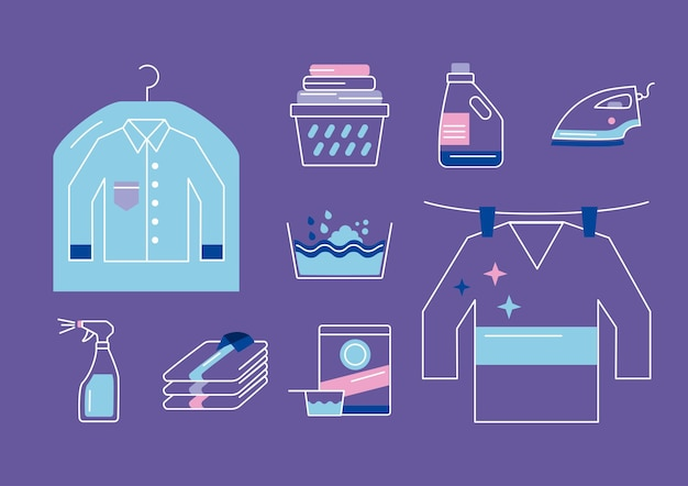 Servicio de lavandería set nueve iconos