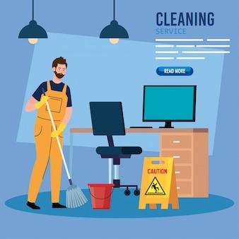 Servicio de limpieza banner, hombre trabajador del servicio de limpieza en el diseño de ilustración de la oficina