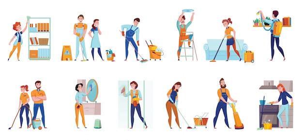 Servicio de limpieza deberes profesionales composiciones planas 2 juegos horizontales con piso barriendo espejos aspiradores lavado ilustración