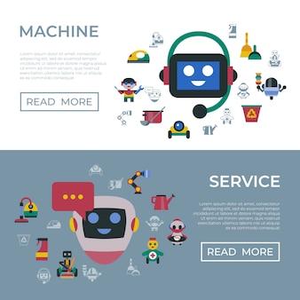 Servicio y limpieza de los iconos de los robots domésticos.