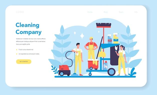Servicio de limpieza o banner web de empresa o página de destino