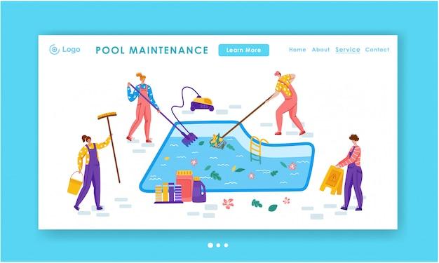Servicio de limpieza o mantenimiento de la piscina de la página de destino, personas en miniatura, productos de limpieza para piscinas -