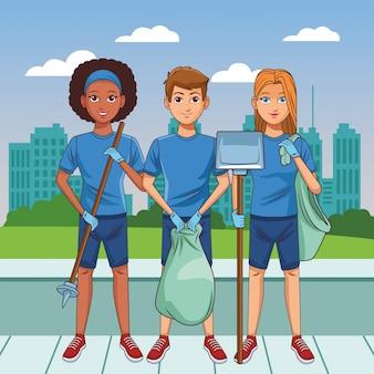 Servicio de limpieza persona avatar personaje de dibujos animados