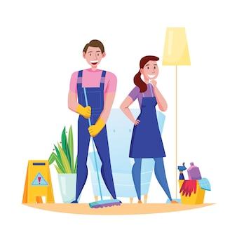 Servicio de limpieza profesional equipo deberes accesorios composición plana con hombre mujer en uniforme ilustración de piso de barrido