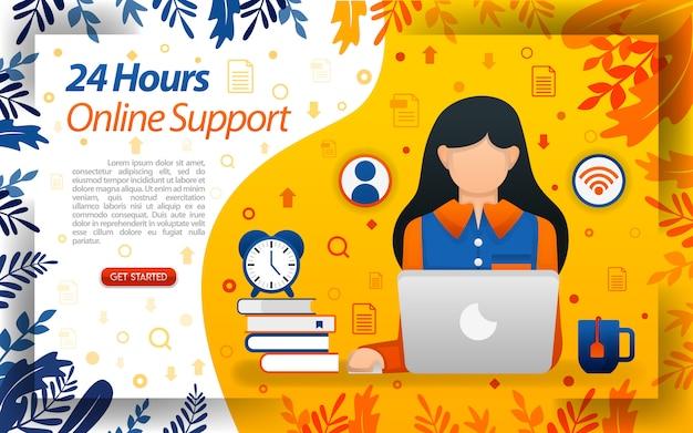 Servicio en línea las 24 horas con ilustraciones de mujeres que trabajan frente a una computadora portátil.