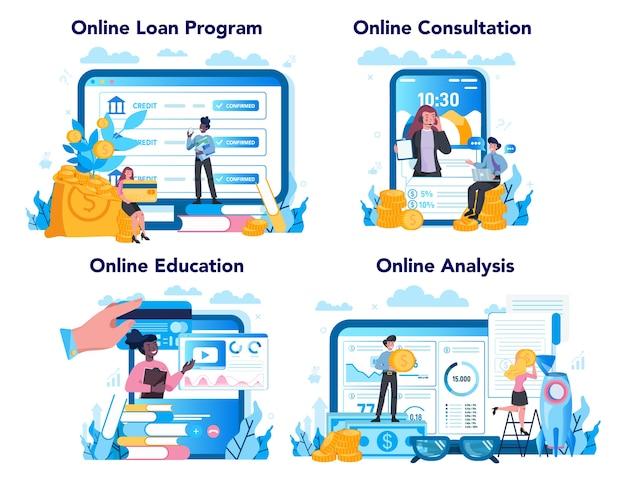Servicio en línea del administrador de préstamos o conjunto de plataforma