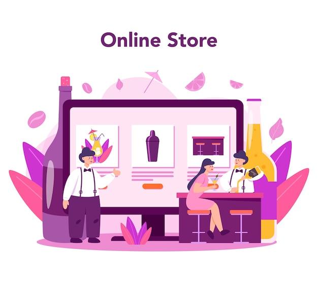 Servicio en línea de barkeeper o conjunto de plataforma. tienda en línea. camarero de pie en la barra de bar, mezcla de cócteles. ilustración de vector plano aislado
