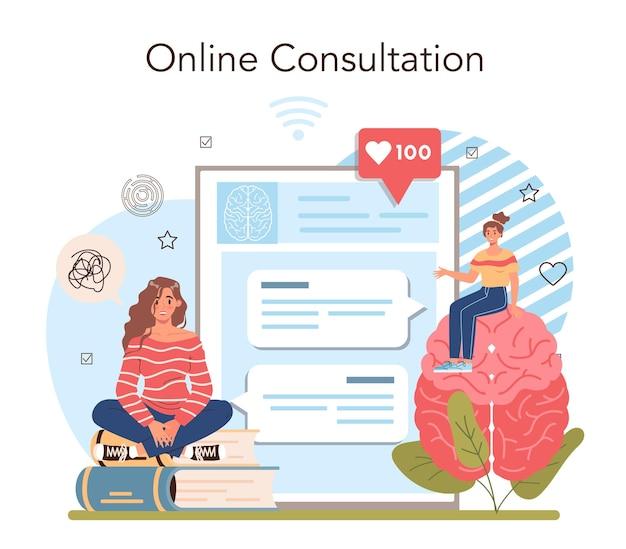Servicio en línea del curso de la escuela de psicología o psicólogo de la escuela de la plataforma