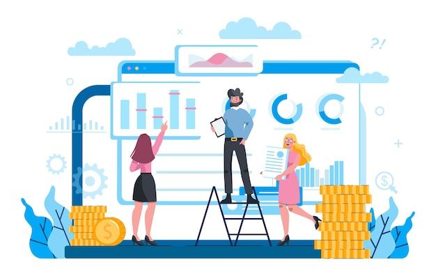Servicio en línea de economía y finanzas en la pantalla de un portátil