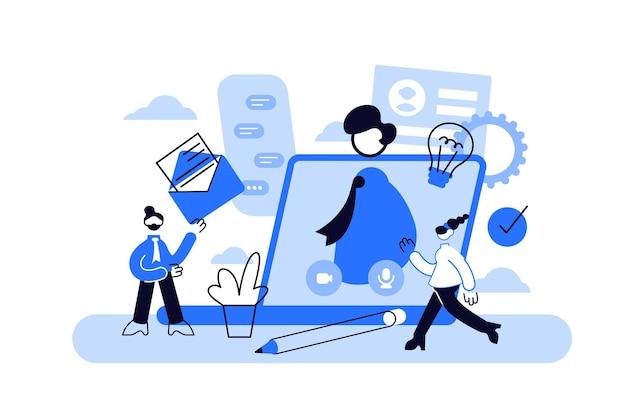 Servicio en línea de entrevista de trabajo o idea de plataforma de empleo