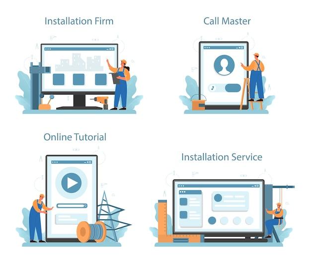 Servicio en línea del instalador o conjunto de plataforma.
