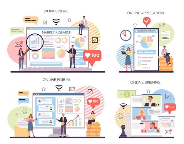 Servicio en línea de investigación y análisis de mercado o conjunto de plataforma