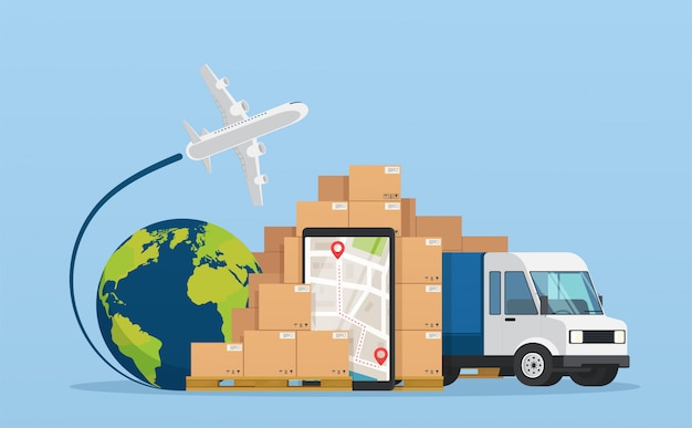 Servicio en línea servicio de logística postal o concepto de entrega de mensajería.