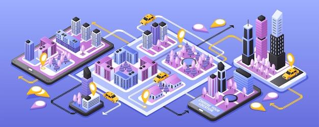 Servicio en línea de taxi de la ciudad banner isométrico estrecho con aplicación de navegación para teléfonos inteligentes en superficie púrpura