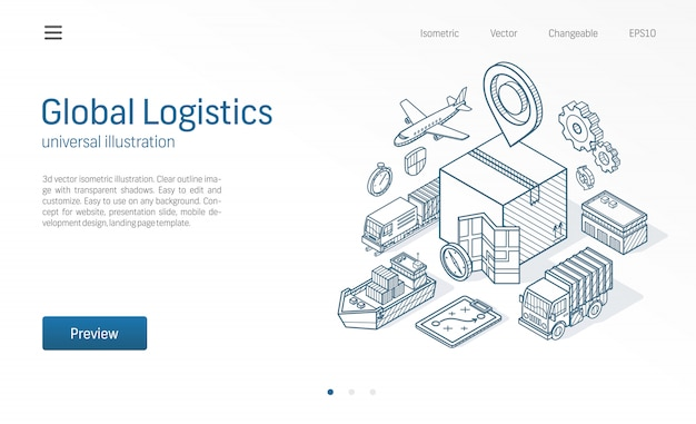 Servicio de logística global moderna línea isométrica ilustración. exportar, importar, almacenar negocios, transportar bocetos dibujados iconos. almacenamiento de caja, distribución, concepto de entrega de carga.
