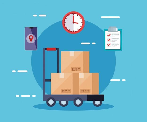 Servicio logístico de entrega con cajas e íconos