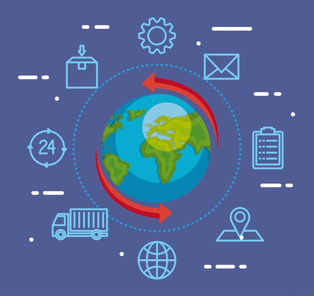 Servicio logístico de entrega con mundo e íconos