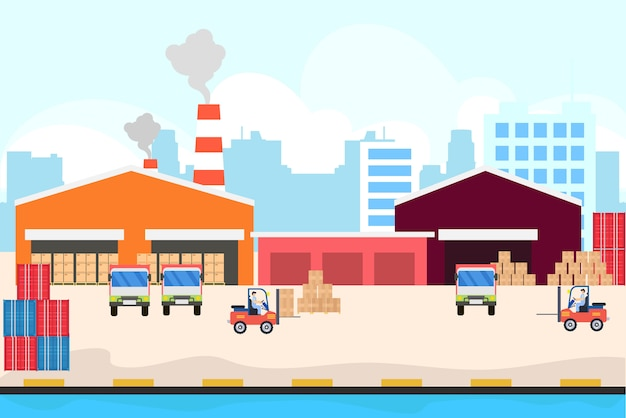 Servicio logístico de entrega en el puerto.