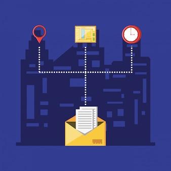 Servicio logístico de entrega de sobres con iconos de conjunto