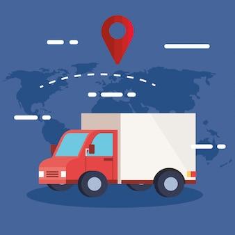 Servicio logístico de entrega con ubicación de camión y pin